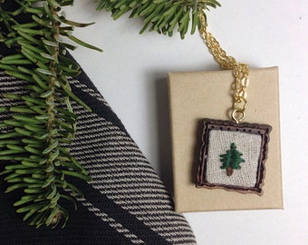 Lonely Pine Tree | wooden frame, embroidered, hand stitched, chain and pendant