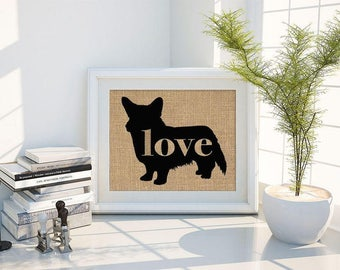 Cardigan Welsh Corgi Love - Burlap Home Decor Wall Art Print for Dog Lovers - Farmhouse Style Silhouette - Can be Personalized (101p)