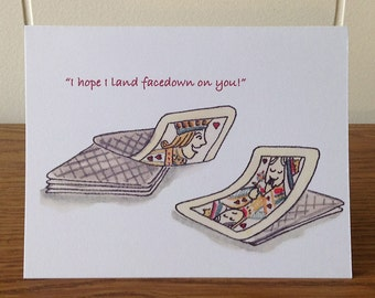 Funny Playing Cards Greeting Card, Jack, Queen, Dating, Love, Lust