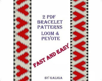 Easy pattern Simple pattern Beginner pattern Red heart pattern Heart bracelet pattern Fast and easy to make Loom and peyote pattern