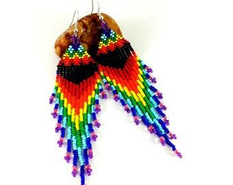 Wife gift For her Long earrings Tassel earrings Love gift womens Rainbow jewelry gift Romantic gift earrings Colorful earrings lgbt