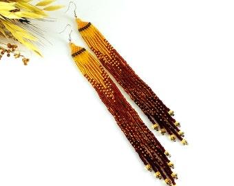 Long earrings Beaded earrings Copper earrings Contemporary jewelry Beaded jewelry Brown earrings Mahogany earrings gift Ochre earrings