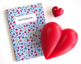 "A5 notebook  ""BLOOMING HEARTIC FLOWERS"" blank inside"