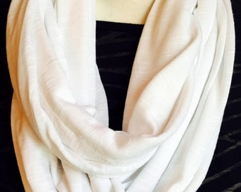 Infinity Scarf, Loop Scarf, White Infinity Scarf, White Scarf, Circle Scarf, Slinky Scarf, Slinky Infinity Scarf, Gift Under 30,