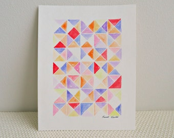 Triangles Watercolor Painting