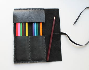 Leather Pencil Case Roll , Tool Roll, Brush Roll, Art Wrap, rouleau à crayon , Bike tool Roll, Pencil Organiser, Back to School, organize