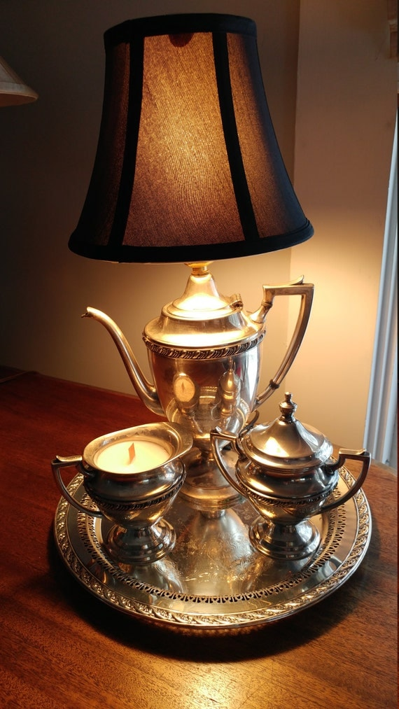Teapot lamp and candles