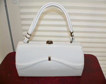 Vintage 1960s White Patent Leather Purse with Gold Trim