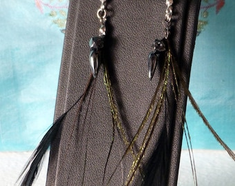 Feathers of Peacock and Hematites beads, black beards and green earrings