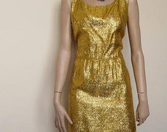 "Gold Shimmer Wiggle Dress - 34"" Waist. Rare Larger Size"