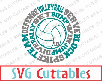 Volleyball Round Subway Art, SVG, EPS, DXF, Digital Cut File for Cutting machines