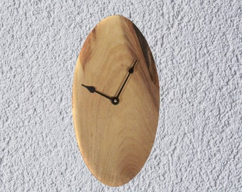 Wood Clock, Wood Wall Clock, Oval Clock, Reclaimed Wood, Red Elm, Salvaged Wood, Handmade, Free Shipping