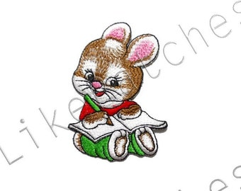 Happy Baby Rabbit Drawing - Cute Animal Print - Sew / Iron On Patch Embroidered Applique Size 5.4cm.x7.9cm.