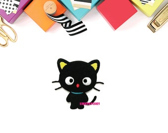 Black Cat Super Cute Patch Sew / Iron On Patch Embroidered Applique Size 7.1cm.x7.2cm.