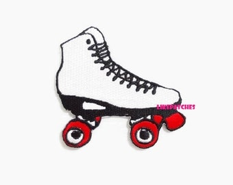 Skate Iron On Patch Roller Skate Patches White Color New Sew / Iron On Patches Embroidered Patch Iron On Appliques Size 7.3cm.x7cm.