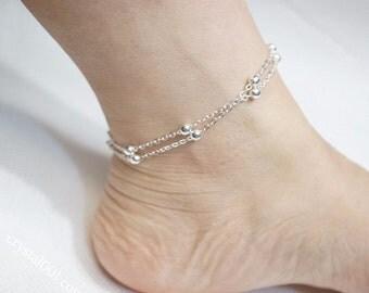 SALE - Silver Anklet, Double Anklet, Layered Anklet, Simple Chain Anklet, Ankle Bracelet