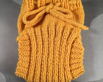 Small Hand Knit Wool Soaker - Wool Diaper Cover - Diaper Cover - Yellow Wool Diaper Cover