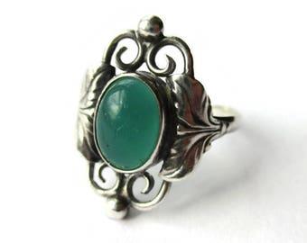 Danish Art Nouveau style ring, apple green glass & sterling silver, Carl Ove Frydensberg, Scandinavian silver, vintage Denmark jewelry #1070