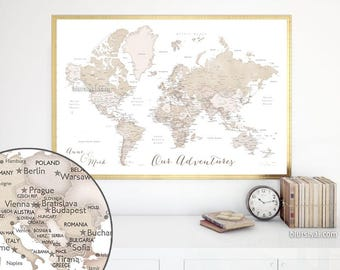 Custom map art, PRINTABLE world map with cities. Rustic world map, neutrals map, rustic decor, rustic map. Anniversary gift, Map141 198