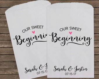 Our Sweet Beginning, Wedding Favors, Candy Bags, Candy Bar Bags, Rustic Wedding, Popcorn Bags, Custom Wedding Favors, Candy Bags, Kraft 187