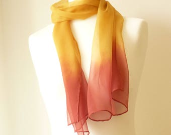 red scarf red silk scarf mustard scarf mustard silk scarf ombre scarf hand dyed scarf eco scarf red mustard yellow scarf TraditionalDyeWorks