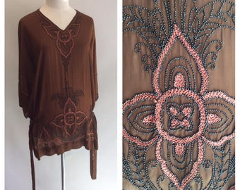 1920s 1930s Art Deco Amazing Brown Beaded Tunic Top with Side Ties Medium to Large M L