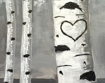 ACEO Aspens, Your initials in the heart,  Original Painting, Miniature Painting,Heart Art, Gift Idea, 2.5x3.5in, MelidasArt