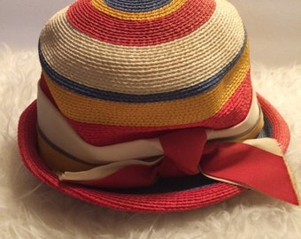 Vintage 1960's Lilly Dache Dachette Straw Hat Mod Stripe Red Blue Yellow Cream