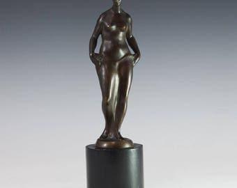 Austrian Art Deco bronze sculpture nude lady signed KARL FIALA circa 1921