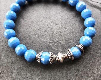 Blue crystal bangles, bracelet blue, beaded blue crystal, silver blue crystal, blue crystal bangle, sparkly blue bangles, blue stone