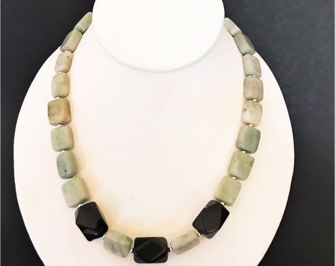 Black Onyx Necklace, Handcrafted Necklace, Stacking Necklace, Black Necklace, Natural Stone Necklace, Onyx necklace