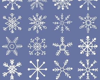 Snowflake Clipart, Digital Snowflakes, Hand Drawn, Snowflake Graphics, Printable, Commercial Use