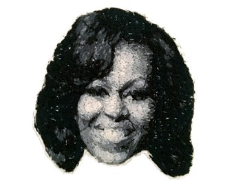 Michelle Obama Embroidered Pin with Leather Backing