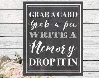 Memory Card Box Chalkboard Sign ** DIY Printing - Digital File *****INSTANT DOWNLOAD**** (card-memory)