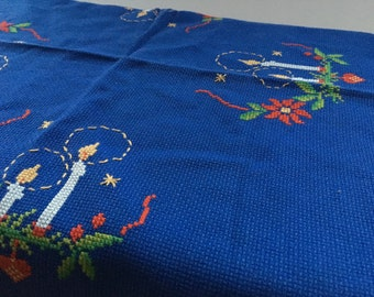 Vintage Christmas table cloth Embroidered Holiday table cloth Christmas cross stitch table cloth Scandinavian table cloth