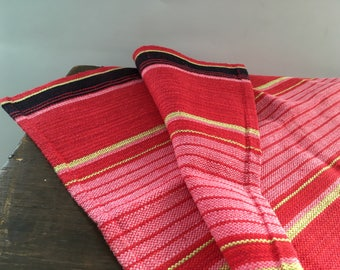 Vintage Swedish table runner Handwoven runner Striped linen table cloth Red yellow runner