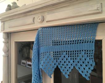 Swedish vintage crochet valance Blue crochet valance Handmade Window valance Window curtain