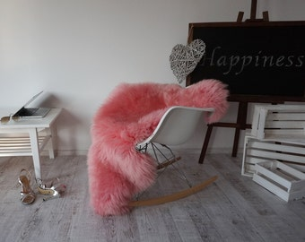 "Regular SHEEPSKIN PINK Throw Genuine leather Sheep Skin 48"" x 28""  Decorative rug Natural comfy, cozy, hiny !"