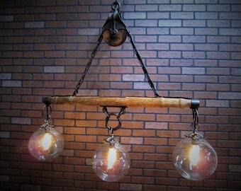 Vintage Industrial Bar Light - Kitchen Island Light - Farmhouse Light - Rustic Decor- Dining Room Light - Wood and Iron Pulley Light