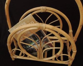Magazine Holder - Bamboo Rattan Magazine Rack - Retro Mid Century Decor Furniture Storage