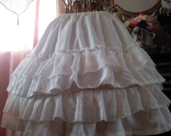 Women's handmade white lace layered skirt /white lace ruffled skirt / white cotton and lace ruffled skirt / gypsy skirt / Boho ruffled skirt