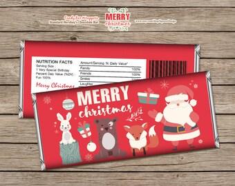Christmas Candy Bar Wrappers Santa Merry Christmas Printable Instant Download Editable PDF
