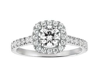 Diamond Engagement Ring, 0.5 Carat Halo Ring, Free Shipping, Cushion Halo Diamond Ring, 14k White Gold Ring, Diamond Gold Ring, Cushion Ring