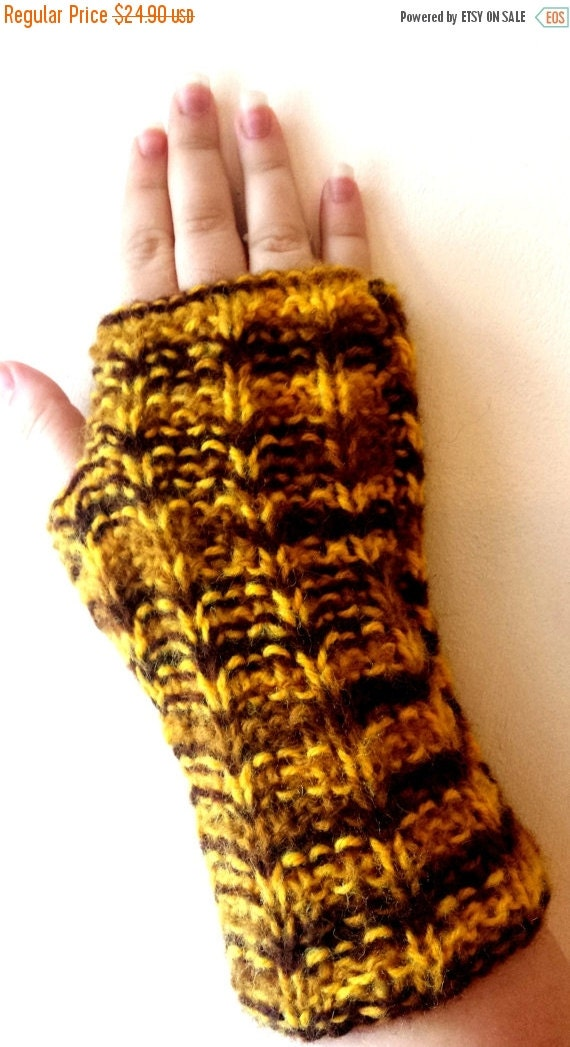 SALE 70% Off Liquidation Fingerless gloves, Hand Knit mitts, mittens, wrist warmers in yellow, brown shaded colors - Hand knitted colorful M
