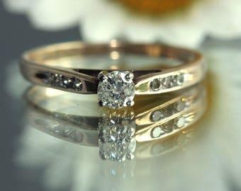 Vintage 10k Yellow gold 0.30ct  tw DIAMOND Ring US SIZE 6.75