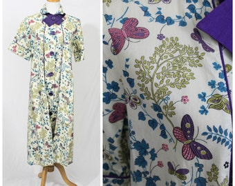 Vintage 40's 50's NOS KENROSE Cotton Frock Day Dress Butterfly Floral Hostess Unworn Patio Lounger LARGE