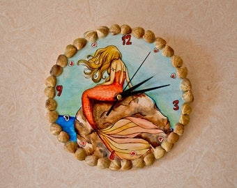 Wooden wall clock with SIREN Mermaid