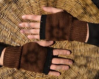 Men fingerless gloves, men knitted mittens, brown mens mitts, for men and teens