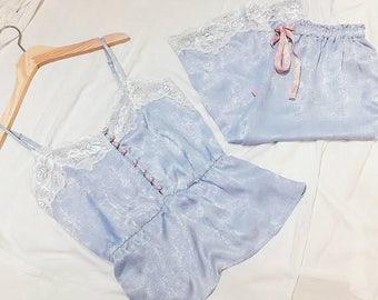 women's satin pajama set|Short pajama set|satin sleepwear|pajama set|satin short and shirt|satin pajama