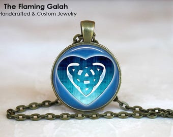 CELTIC KNOT HEART Pendant • Blue Celtic Heart • Pagan Knot • Spiritual • Gift Under 20 • Made in Australia (P1084)